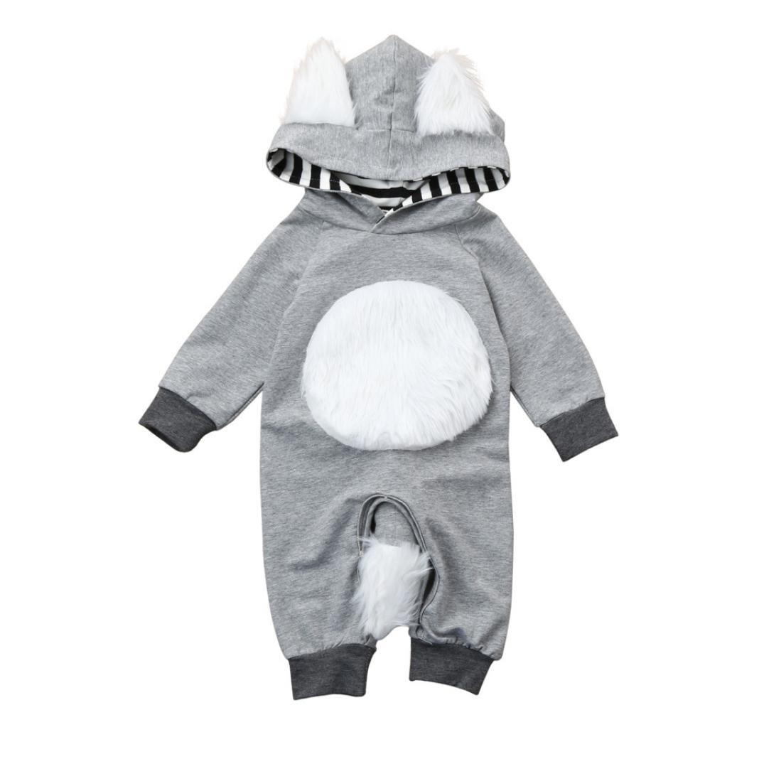 ANBOO Newborn 3D Animal Hooded Romper, Totoro Cats Design Striped Jumpsuit