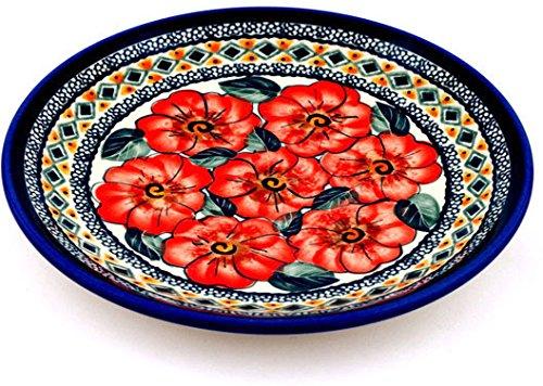 Polish Pottery Dessert Plate 7-inch Peach Poppies UNIKAT