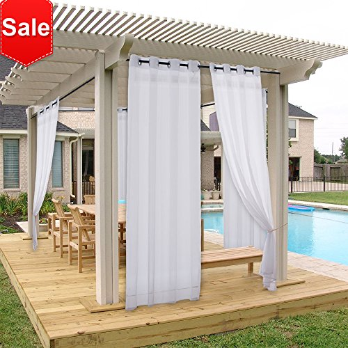 NICETOWN Outdoor Curtain Panel for Porch Window Treatment Silver Grommet Water Repellent Indoor Outdoor Sheer Drape with Rope Tieback (1 Panel, 54 by 84 Inch, White) (Indoor Outdoor Curtains)
