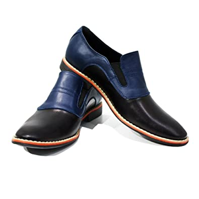 Modello Lecco - Handmade Italian Mens Navy Blue Moccasins Loafers - Cowhide Smooth Leather - Slip-On