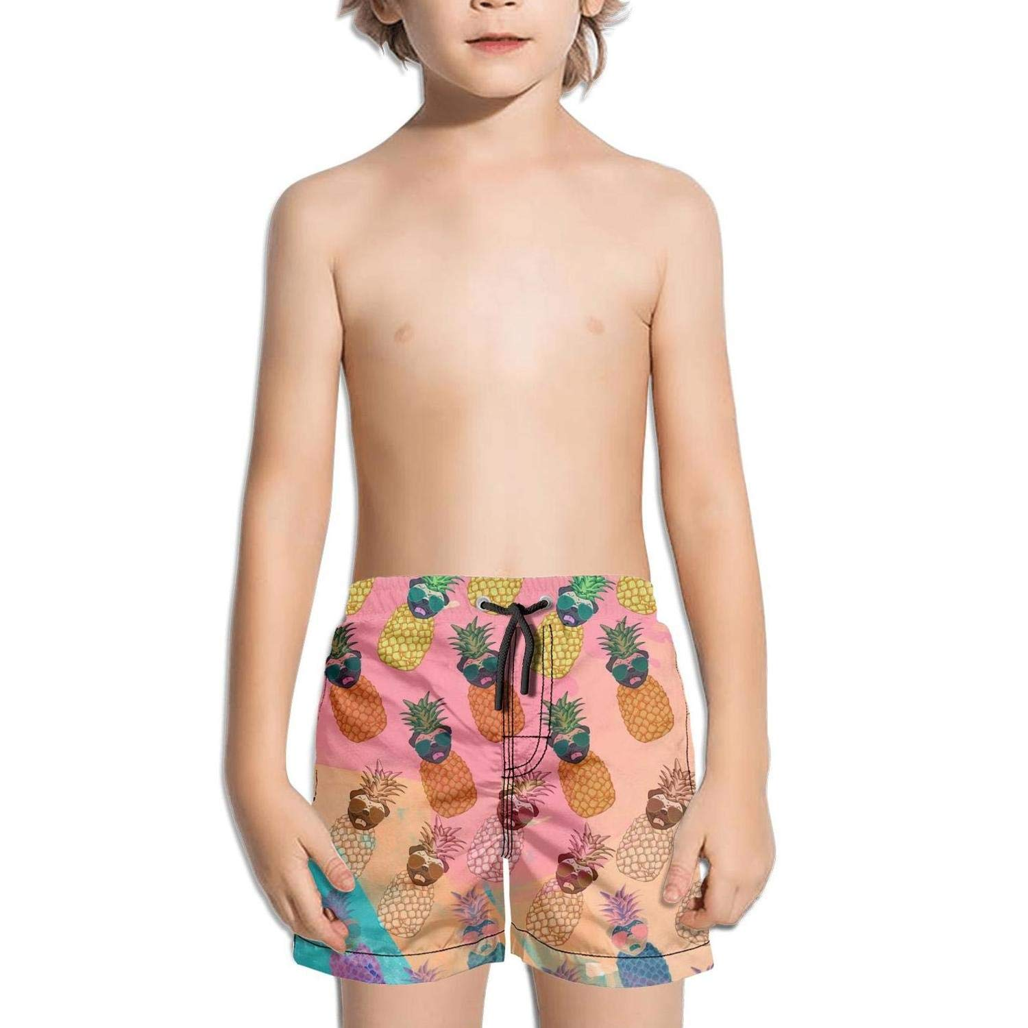 Shorts Swim for Kid Quick Dry Stretch Board Slim Fit Swim Holiday Sportwear Pug Pineapple and Sunglasses Rainbow Background