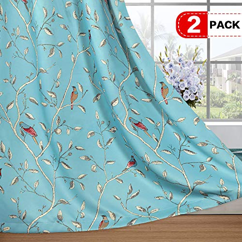(H.VERSAILTEX Blackout Curtains for Living Room Thermal Insulated Window Treatment Panels for Bedroom/Nursery, Turquoise Blue Birds Pattern Extra Long Curtains (52 x 96 inch, Set of 2))