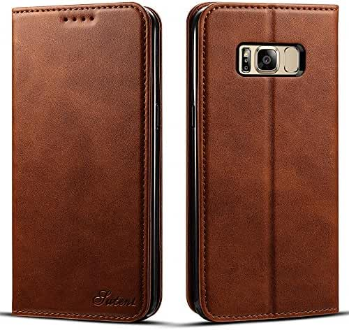 Samsung Galaxy S8/S8 Plus Leather Wallet Phone Case with Card Holder Kickstand Folio Style Protective Flip Cover
