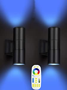 Exterior Double Up Down Outdoor Wall Lights,Mi.Light Remote Control RGB Color Changing 1000lm Warm White 3000k RGBW Cylinder Outdoor Wall Light,Smart LED Exterior Lighting (2 Pack)
