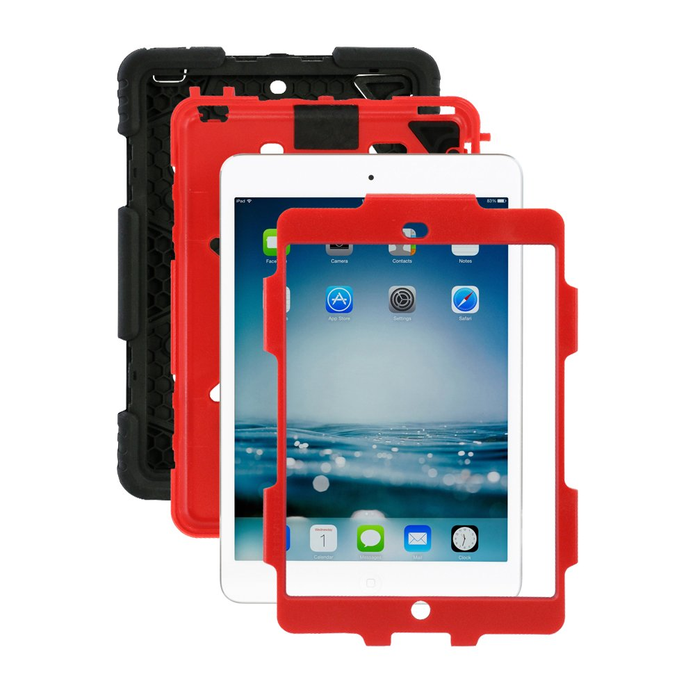 ... Shockproof Kids Proof Case for Ipad Mini 2 Mini 1&2(Gifts Outdoor Carabiner + Whistle + Handwritten Touch Pen) (RED/BLACK): Computers & Accessories