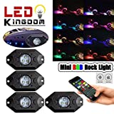 LEDKINGDOMUS 4x RGB LED Rock Lights with Bluetooth Controller,for Jeep Off Road Truck Car ATV SUV Under Body Glow Light Lamp Trail Fender Lighting