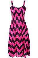 2LUV Women's Multicolored Geometric Prints Easy-Fit Midi/Mini Summer Beach Dress