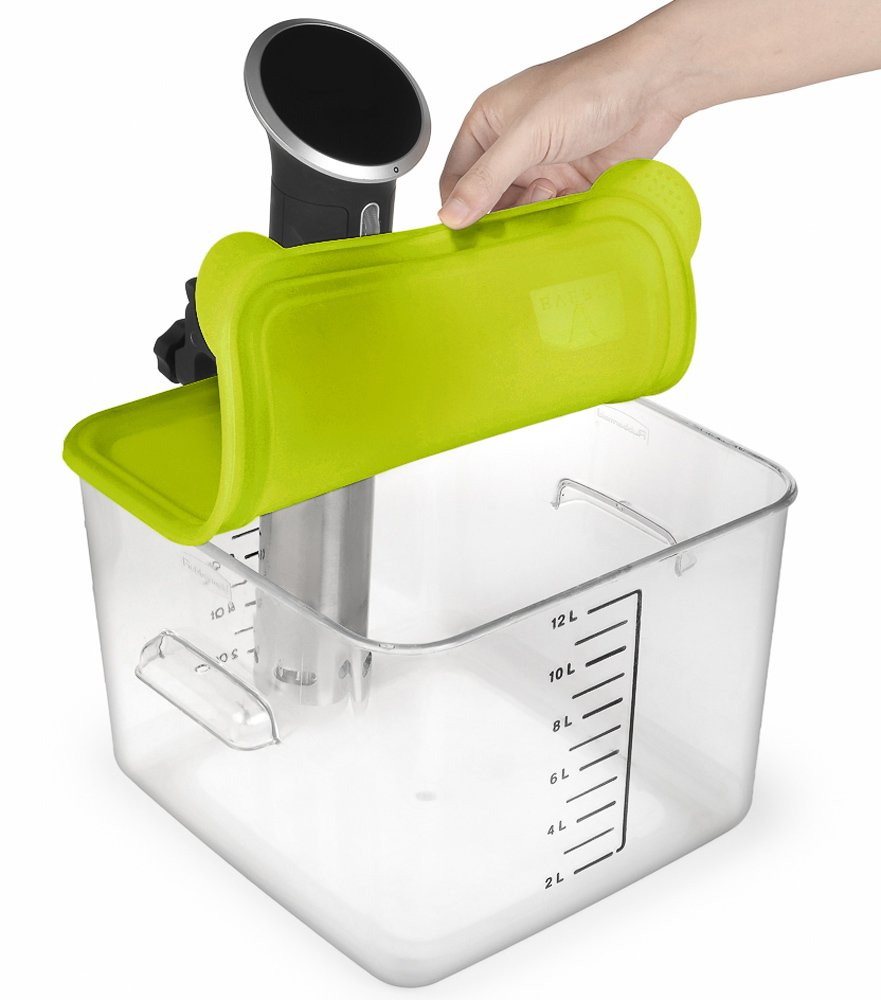 EVERIE Collapsible Silicone Sous Vide Lid for Anova Cookers, Fits 12,18,22 Quart Rubbermaid Container (Side Mount)