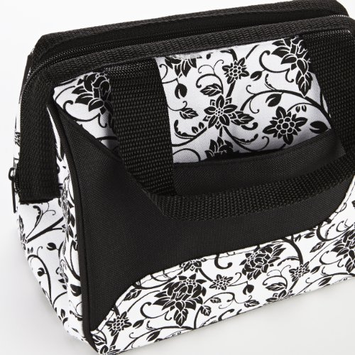 Fit & Fresh Women's Downtown Insulated Lunch Bag with Zipper Closure and Exterior Pocket, Stylish Adult Lunch Box for Work, Ebony Floral by Fit & Fresh (Image #2)