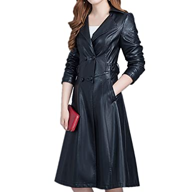 436011f8ba1 LJYH Women's Faux Leather Double-Breasted Overcoat Long Trench Coat ...