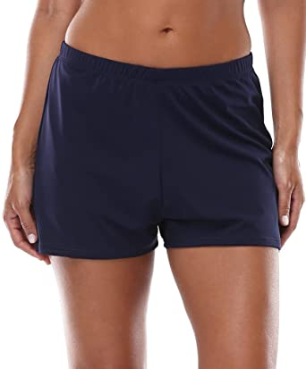 CharmLeaks Womens Swimming Shorts Ladies Tummy Control Swim Shorts Navy  Blue 32 fd290584aa