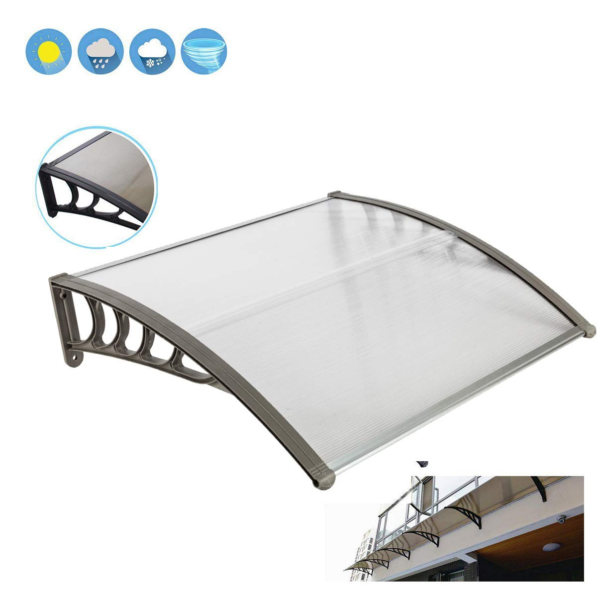 Wegi King Canopy Awning 100x100cm Garage Roof,Clear Overhead Window Cover Polycarbonate UV,Rain Snow Protection Hollow Sheet for Patio Lawn Garden House Greenhouse Front Door Outdoor (Gray Holder)