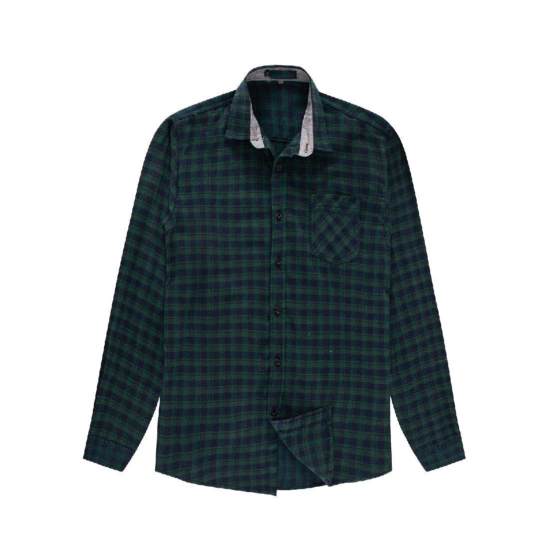 YUNY Mens Button Down Plaid Oversized Long Sleeve Cotton T-Shirts Shirts AS2 XL