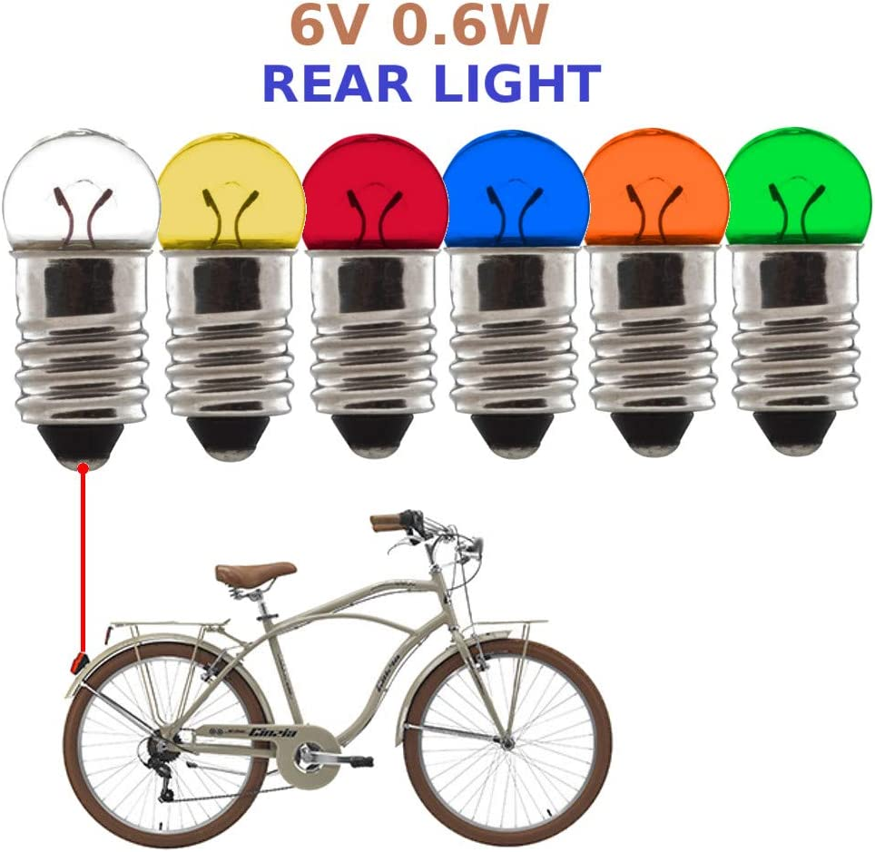 BULB LIGHT 6V 0.6W E10 BIKE AUTO MOTORCYCLE DYNAMO LAMP FRONT REAR VINTAGE MOPED