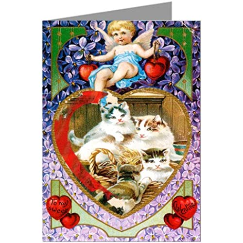 Basket of Kittys and Hearts Vintage Valentines Day Greeting Card Sales