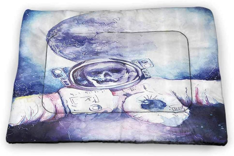 Large Cat Food Mat Skull Decorations Machine Washable Pet Bed Liner Watercolor Cosmonaut on Outer Space Milky Way with Moon Earth Galaxy 40 x 27 inch Blue Purple