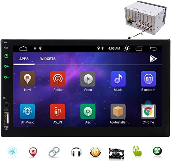 """7/"""" Double 2Din Android Car Stereo Radio GPS Bluetooth WiFi Camera Touch Mirror"""