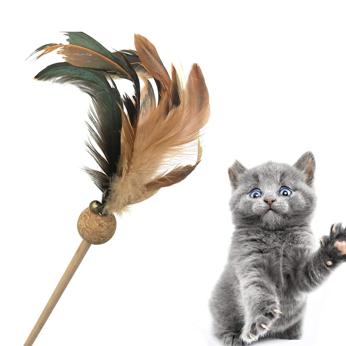 Cataria Best Kitten Toys - Wooden Cat Teaser Feather Teaser Wand 2pc