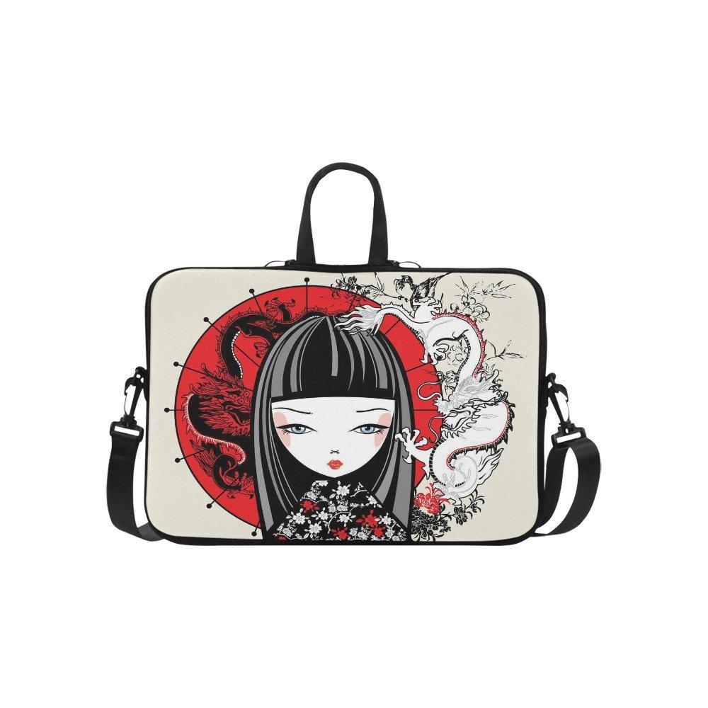 interestprint Japanese Girl肩ストラップコンピュータバッグ、日本Dragonsネオプレンラップトップスリーブケースカバー15.6インチfor MacBook Pro Air Dell HP Lenovo Thinkpad Acerウルトラブック B06XRDLQMQ