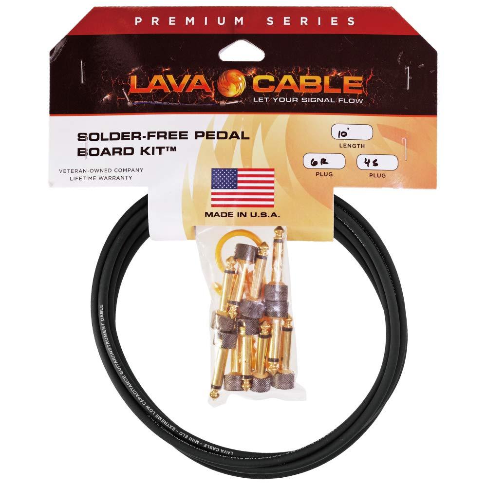 Lava Cable Solder-Free Kit Gold/Black Plug L字プラグ×6+ストレートプラグ×4セット / はんだ不要!簡単に作れるパッチケーブルキット! ソルダーレス ソルダーフリー   B07Q34QDF5