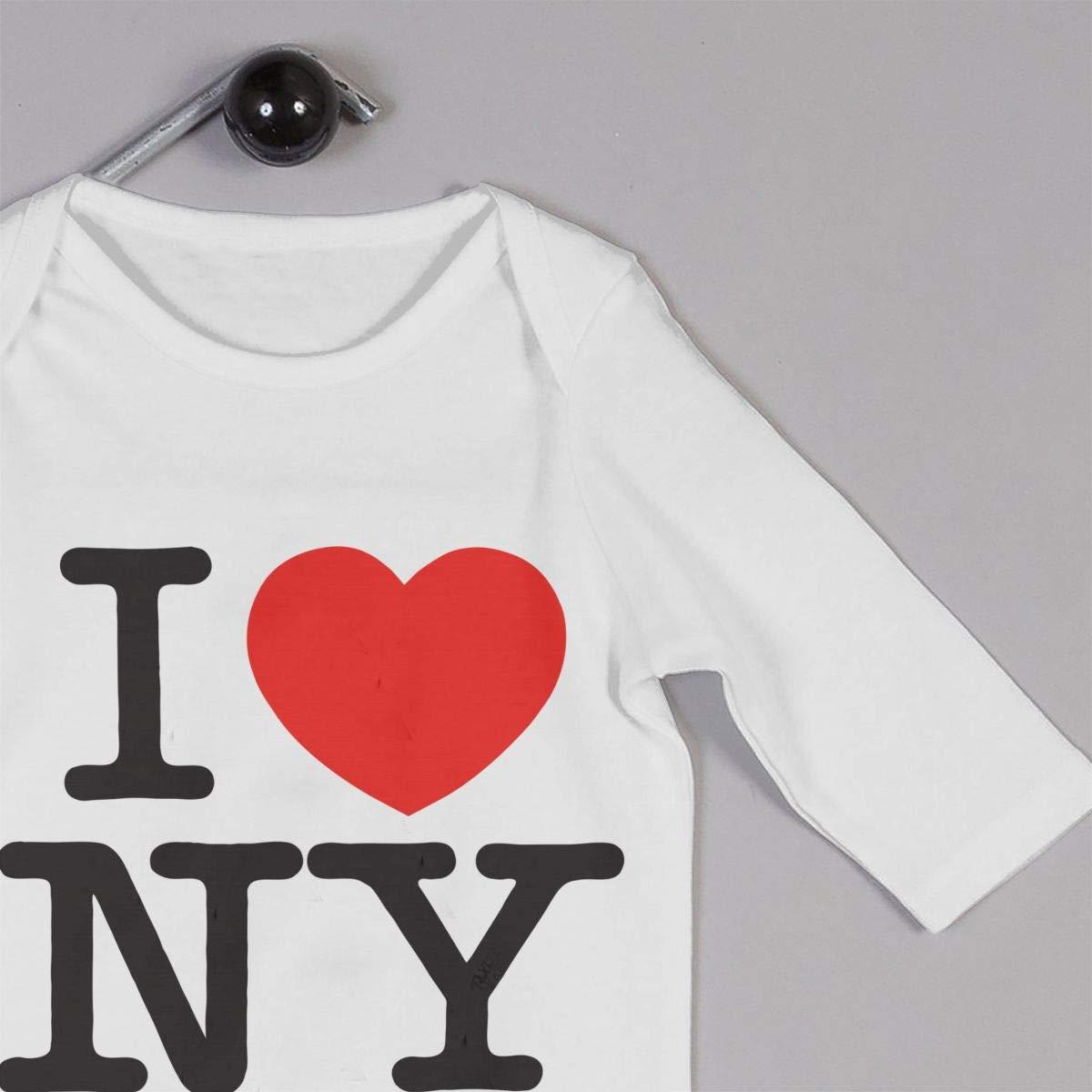 I Love New York Unisex Baby Bodysuit Infant Cotton Outfits Long Sleeve Jumpsuit