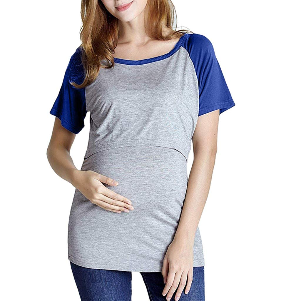 HCFKJ Womens Clothes Maternity Dress Coat Lady Maternity Short Sleeve Splicing Color Tops Pregnancy Nursing Baby T-Shirt Blue,Black