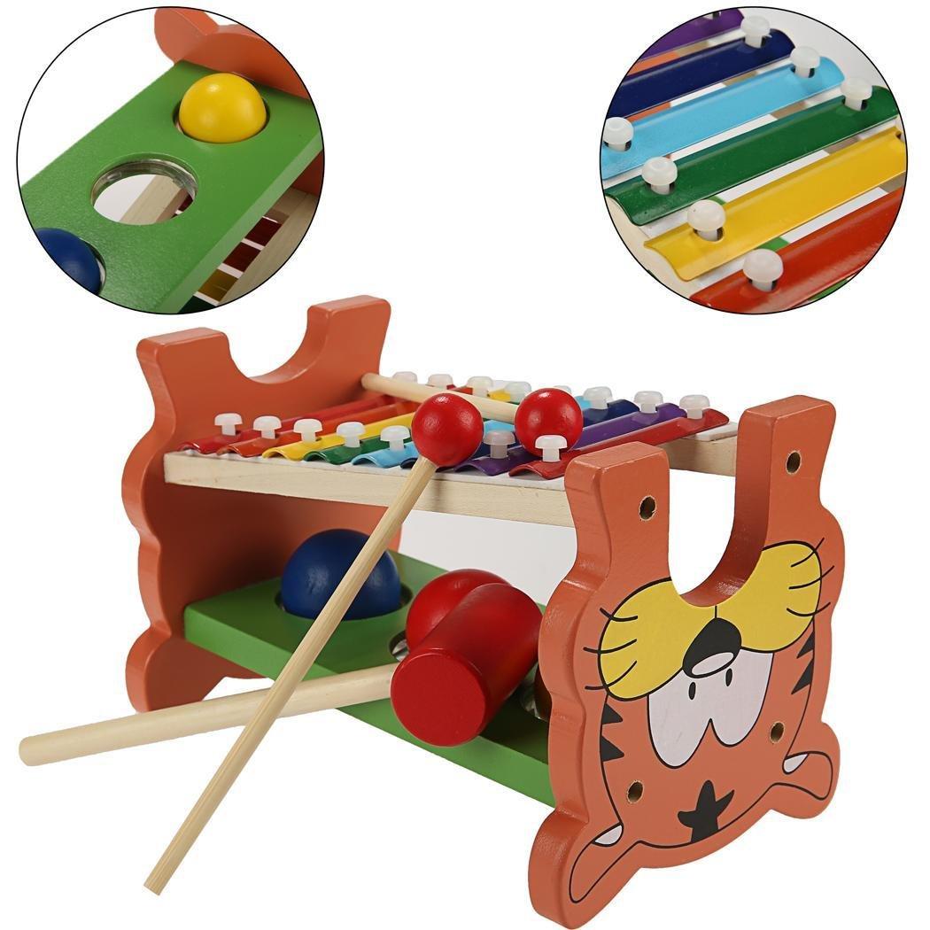 Coorun Spielzeug Kinder Hammerspiel Hammerbank Xylophon und Hammerspiel aus Holz mit Musiktaste und Tigermuster