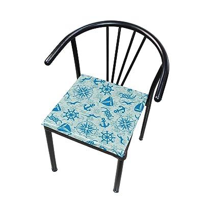 Bardic FICOO Home Patio Chair Cushion Ocean Pattern Anchor Square Cushion Non-Slip Memory Foam Outdoor Seat Cushion, 16x16 Inch: Home & Kitchen