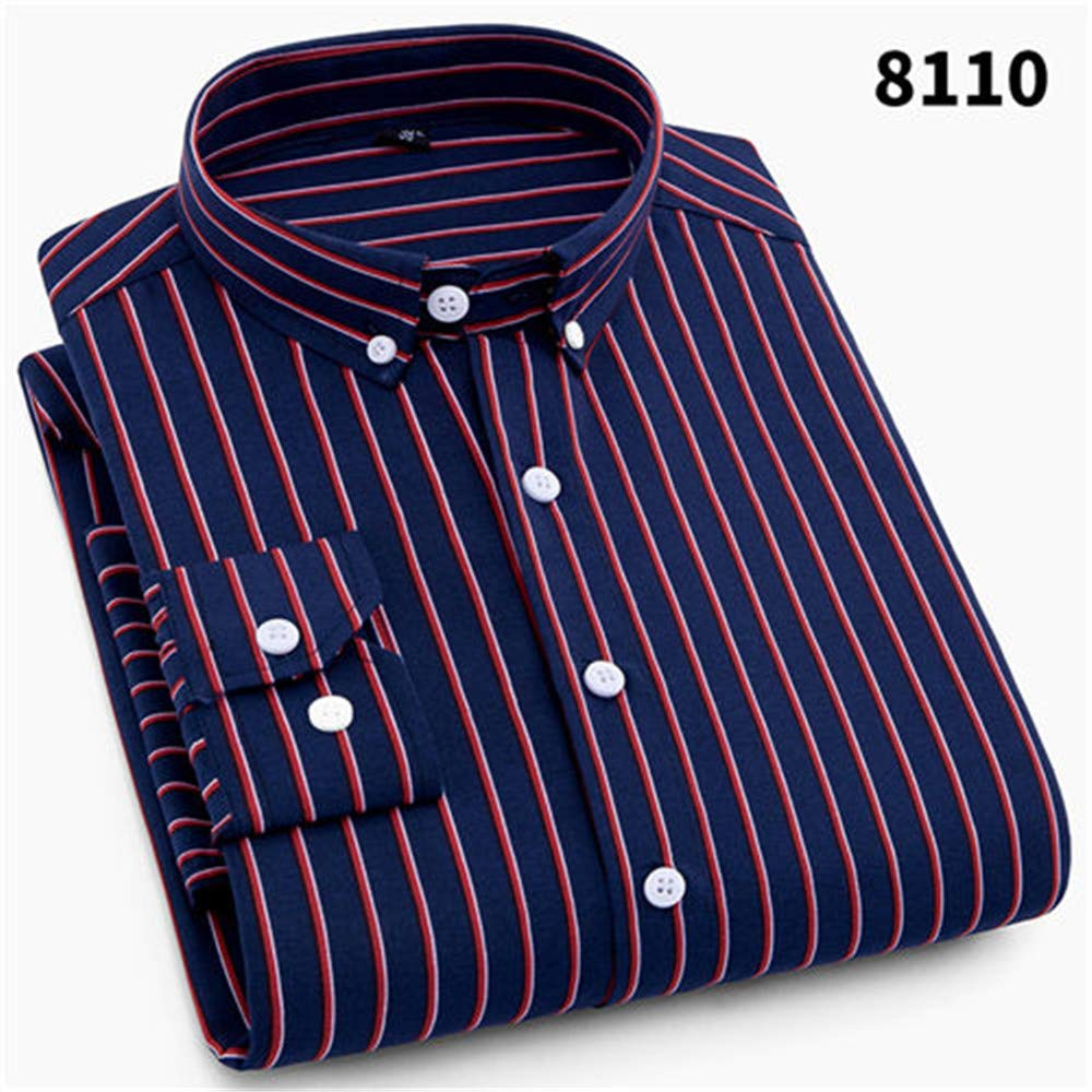 2019 Men Striped Shirts Casual Long Sleeved Mens Shirt 4XL Plus Size Business