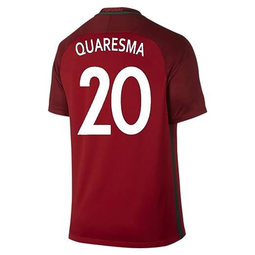 Amazon.com   Nike Quaresma  20 Portugal Home Soccer Jersey UEFA Euro 2016  Youth. (YXS)   Clothing c825aa681c191