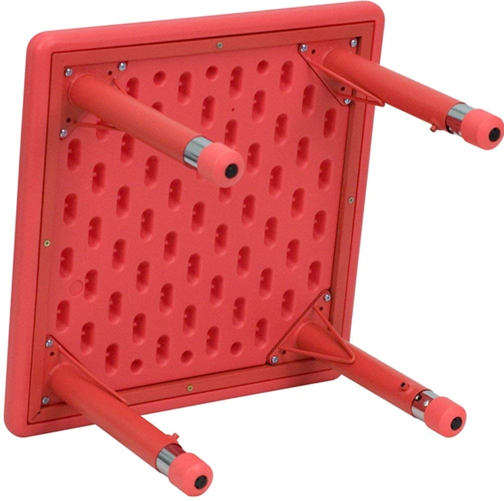 Flash Furniture 24'' Square Red Plastic Height Adjustable Activity Table Set with 4 Chairs by Flash Furniture (Image #3)
