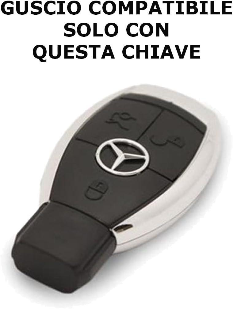 【PortaChiavi Idea Regalo】 Cover Chiave Telecomando Mercedes-Benz Classe A C E S V ML CLK SLK guscio NERO
