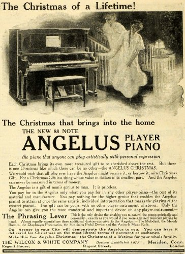1910 Ad Christmas 88 Note Angelus Player Piano Musical Instrument Wilcox White - Original Print Ad from PeriodPaper LLC-Collectible Original Print Archive
