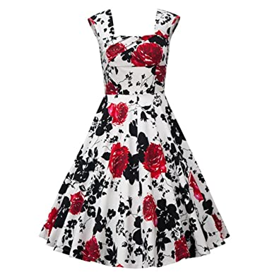 KeKeD23921 Womens Plus Size Summer Dress Christmas Dresses Retro Vintage Dress For Women Rockabilly Wedding Party