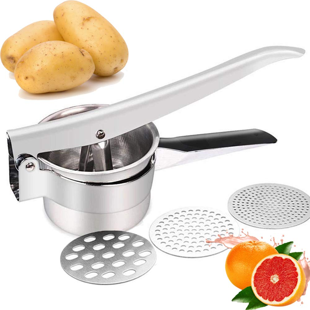 JmeGe Potato Ricer/Fruit and Vegetables Masher Food Ricer Large Capacity 420ml-100% Stainless Steel(Silver) by JmeGe