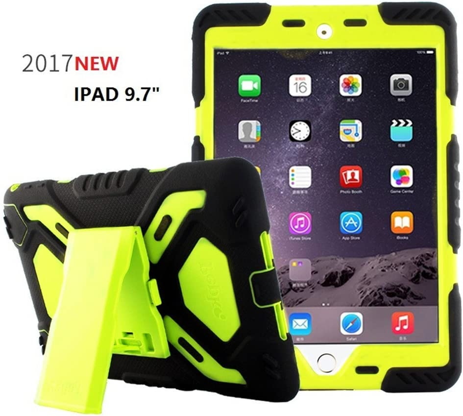 Bpowe for iPad 9.7 inch 2017/2018 Case,Heavy Duty Cover Case Silicone Plastic Dual Layer Shock Proof Drop Proof Dust Proof Kids Proof with Kickstand for Apple iPad 9.7 inch 2017/2018 (Black/Green)
