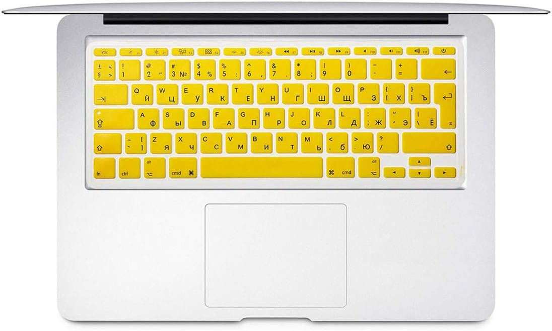 for Mac Book Air 11 Inch Russian Colorful Keyboard Film EU Silicone Keyboard Protector Cover forAir11.6 A1465 A1370 Ru,Orange