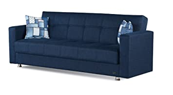 Superb Beyan Miami Collection Modern Fold Out Convertible Sofa Bed Sleeper With Storage Space Includes 2 Pillows Blue Gmtry Best Dining Table And Chair Ideas Images Gmtryco