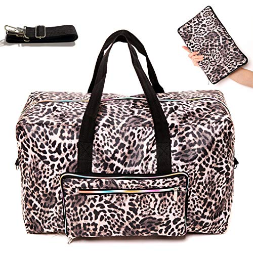 Travel Duffel Bag Foldable Large Travel Bag Weekend Bag Checked Bag Luggage Tote 18 Style 21.6IN x 9.8IN x 13.7IN (leopard ()