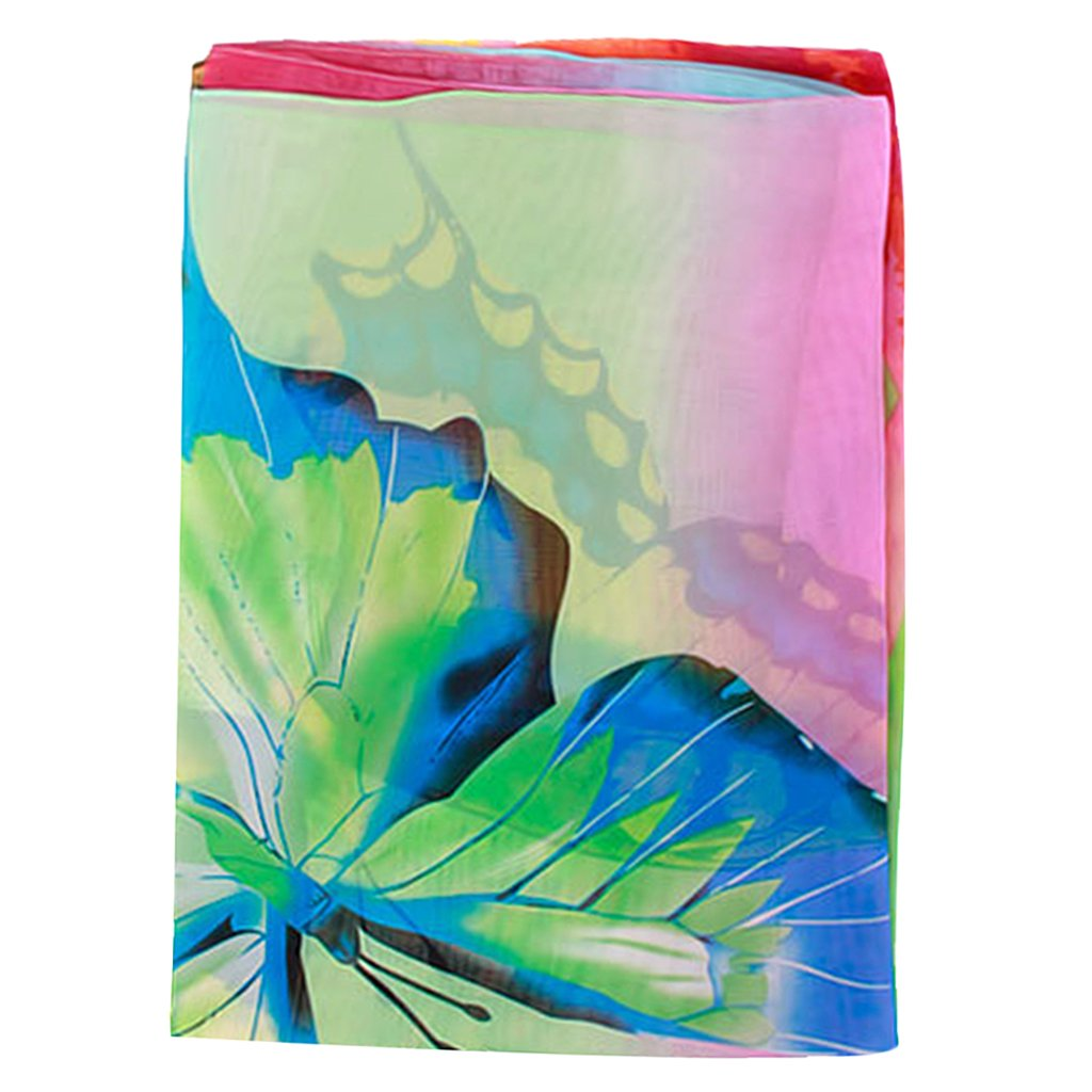 c6dd31541e3b3 Imported Women Chiffon Beach Scarf Cover Up Pareo Sarong Dress Swim - Blue  Green: Amazon.in: Clothing & Accessories