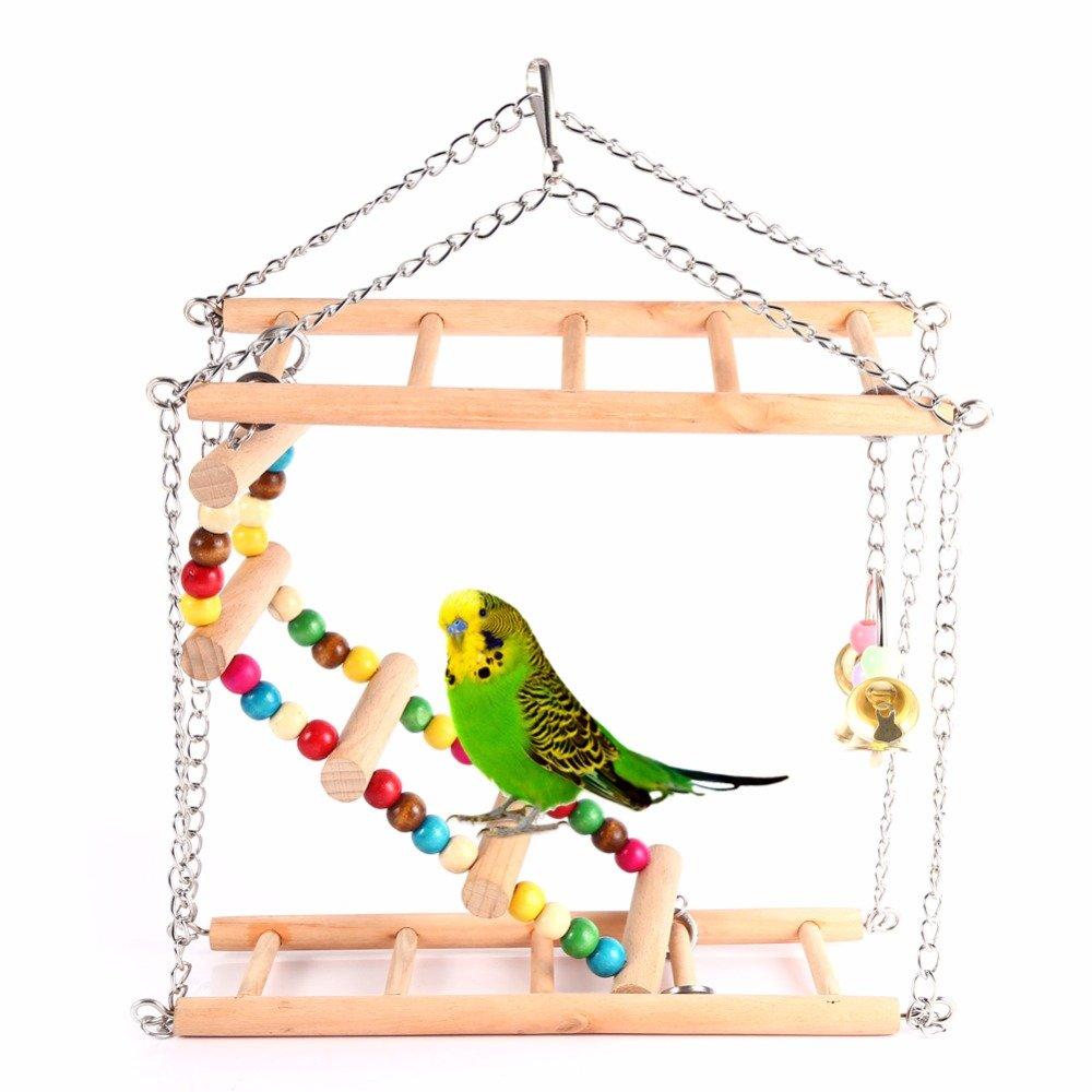 Hamiledyi Bird Swing For Parrot Parakeet Budgie Cockatiel Climbing Ladder Swinging Wood Hanging Toy Bird Toy Ladder Wooden Bridge Swings for Parrots Wooden Suspension Bridge by Hamiledyi (Image #1)