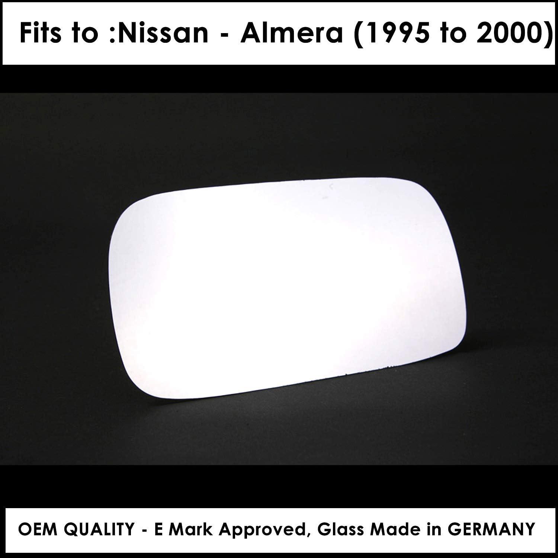 Driver Side NIAlmera 1995 to 2000 Silver Wing//Door Mirror Glass RH