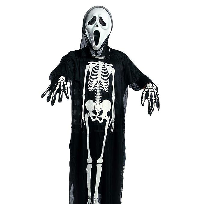 Amazon.com Halloween Ghost Cloak Skeleton Coat Robe Dress