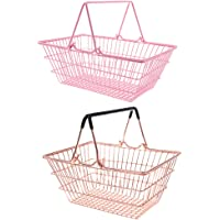 MagiDeal 2pcs Kids Mini Metal Supermarket Shopping Basket for Kitchen Fruit Vegetable Food Grocery Storage Pretend Play Tools Toy Gifts