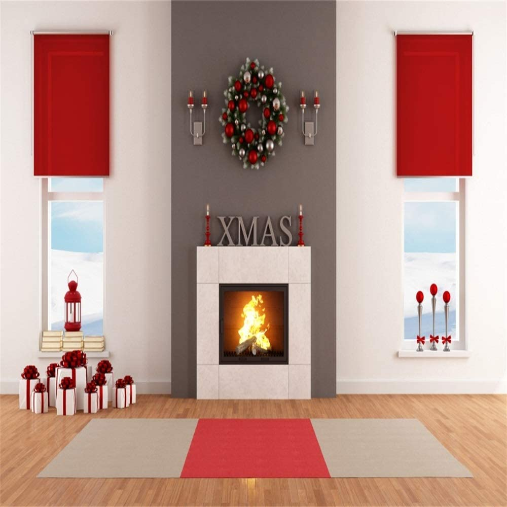 Baocicco Classic Room Interior Christmas Decoration Backdrop 10x10ft Photography Background Christmas Wreath Fireplace Flame Gift Box Old Lantern Window View Snow Scene