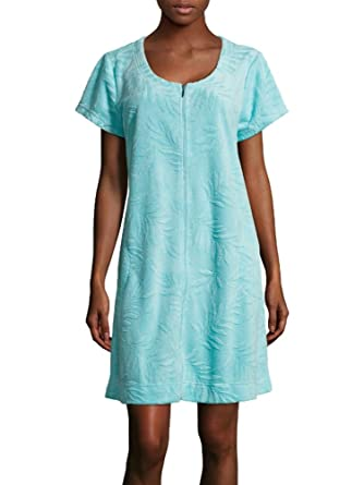 Miss Elaine Women s Solid Jacquard Micro Terry Short Robe at Amazon Women s  Clothing store  62a7c1837