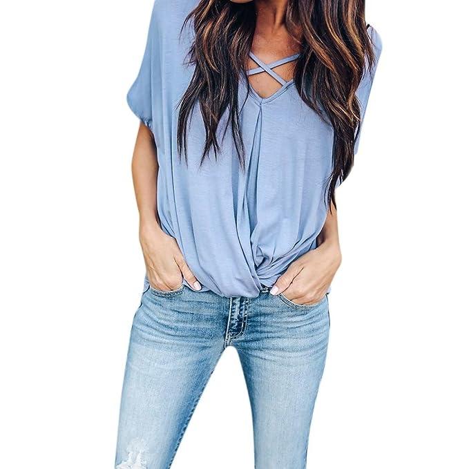 OHQ_Camisetas Mujer Tops De Color SóLido para Mujer Amiseta Sin Mangas con Cuello En V,