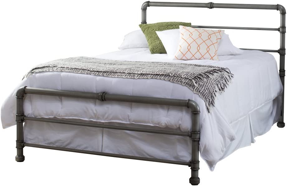Contemporary Metal Bed Frame Modern Pipe Construction with Headboard Twin Full Queen Kins Size for Kids or Adults Home Decor Bedroom Space Saver Twin , Bonus e-Book
