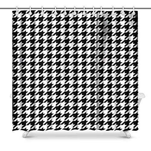 Keke's Home Classical Black and White Houndstooth Checkered Pattern, Polyester Fabric Mildew Proof Waterproof Cloth Shower Room Decor Shower Curtains,65