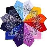 Anpro 12PCS Bandanas Blind Unisex Handkerchief, Headband, Neck Scarf, Decoration Retro Style Multicolor Multif